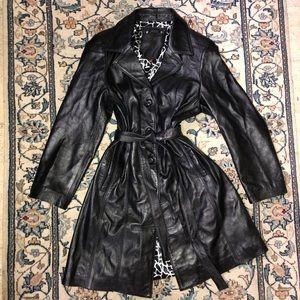 100% Black Leather trench coat jacket